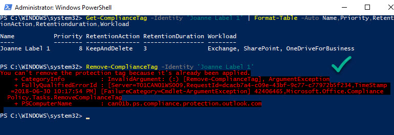 Removing a label in use with PowerShell