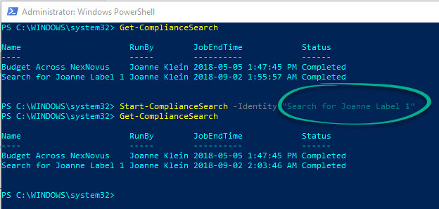 PowerShellComplianceSearch