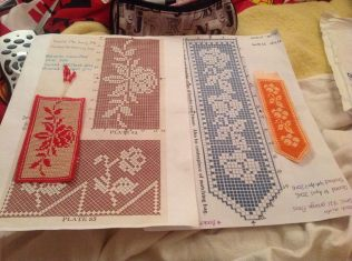finished floral bookmarks April 2015 with charts
