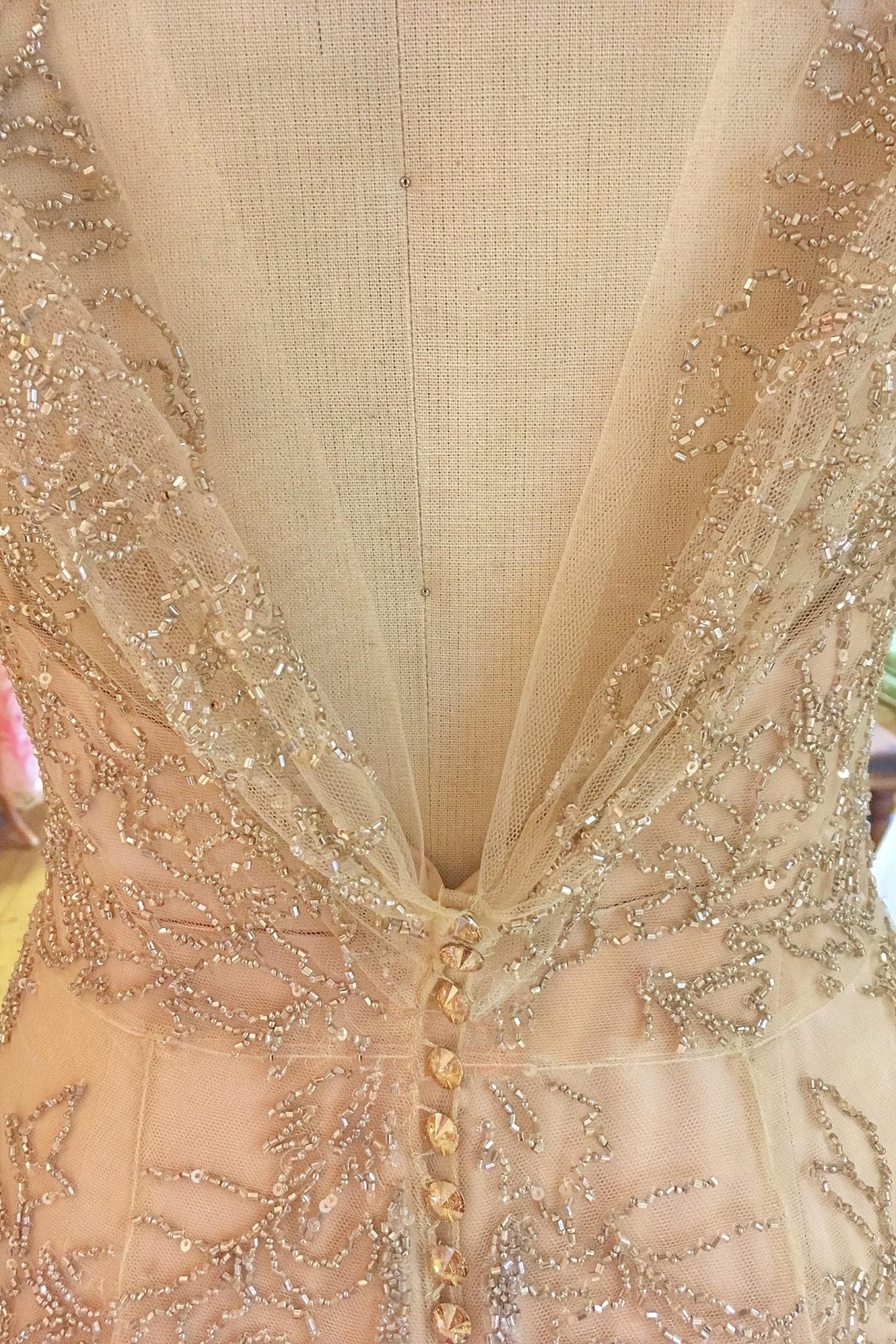 Beaded Tulle Couture Wedding Dress In Pale Gold And