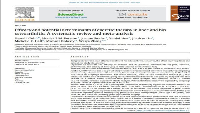 Screen shot of abstract comparing different exercise therapy for osteoarthritis