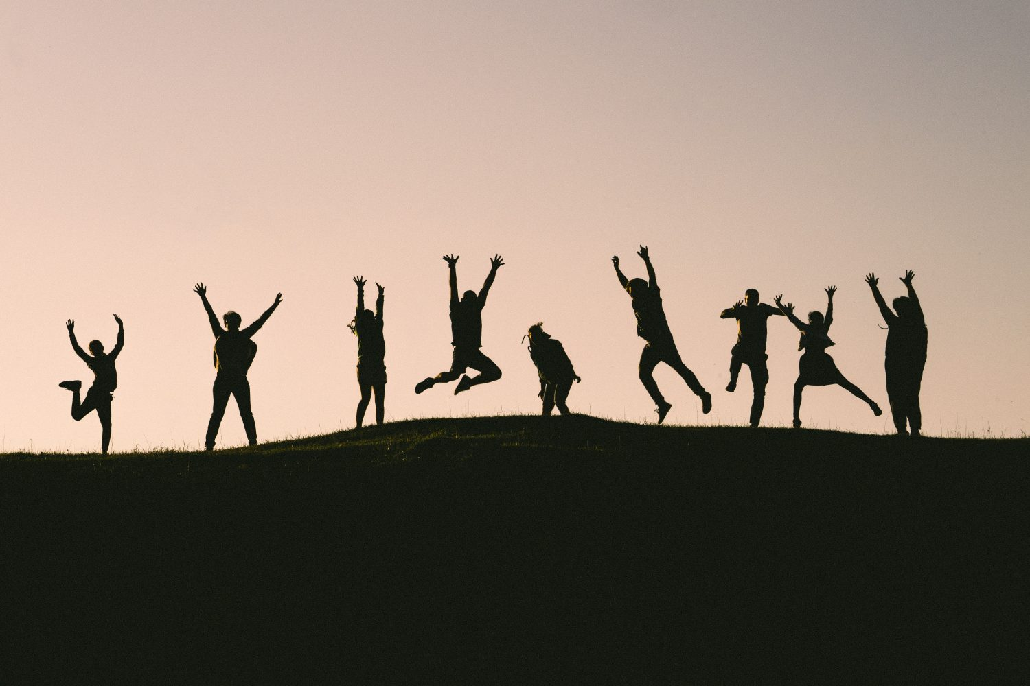 silhouette photo of group of people jumping in the air
