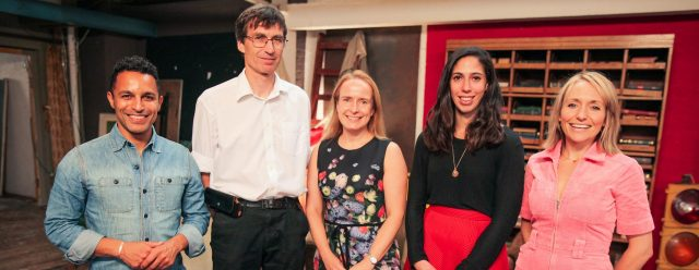 Ep3. (From left to right) Dr Javid Abdelmoneim, Prof David Walsh, Dr Joanne Stocks, Dr Jessica Briscoe and Kate Quilton.