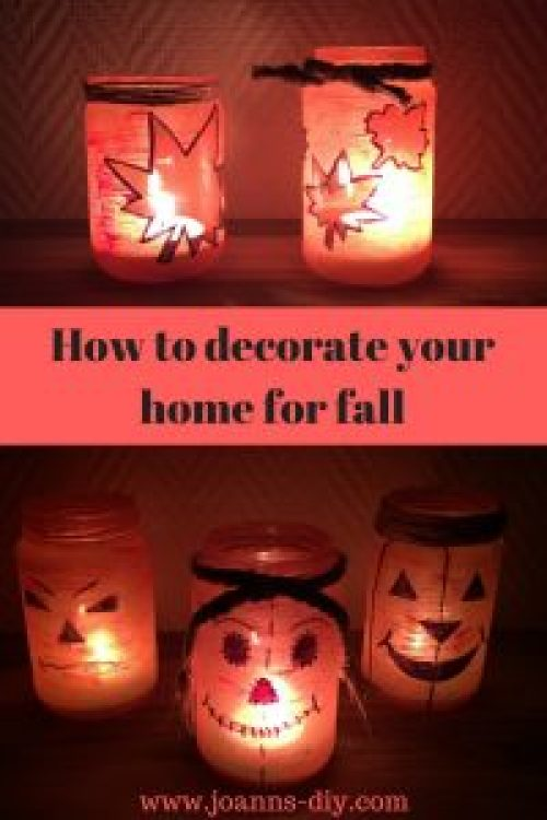 fall and halloween painted mason jars