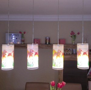 "4 glass laminated lampshades ""after"""