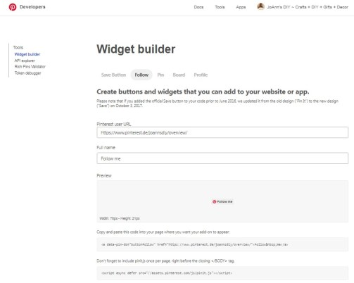 Pinterest Developers Widget builder Follow Button auf eigener Website einfügen