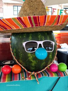 decorated watermelon with a sombrero and sunglasses