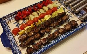 Simple beef and vegetables kebabs