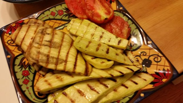 Grilled vegetables for end of summer salad