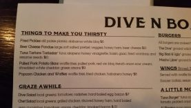 Dive N Boar Menu