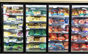 frozen food department in a supermarket