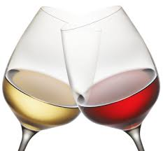 red and white wine glasses clinking
