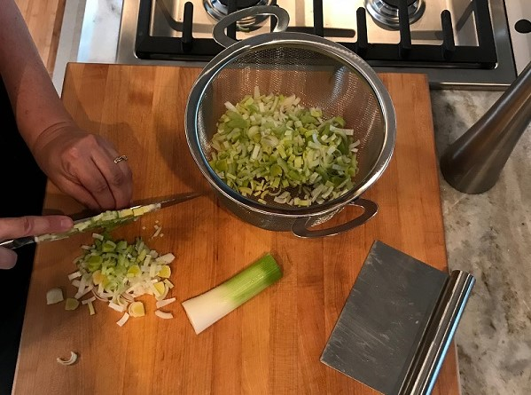 Prepping leeks for mashed potatoes