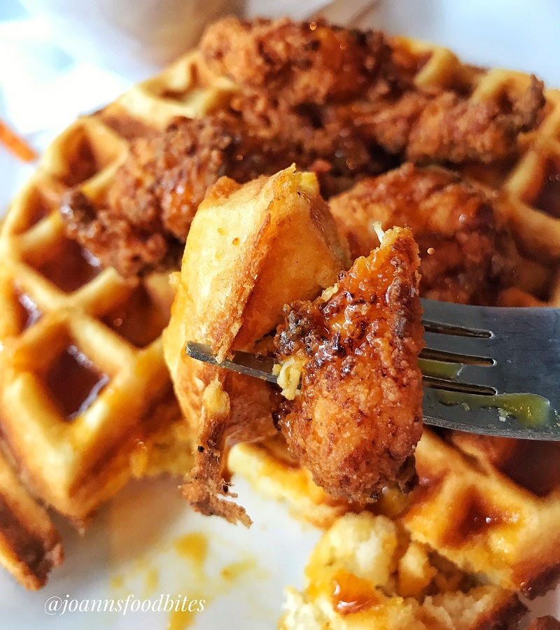 Close up bite of Chicken and Waffles