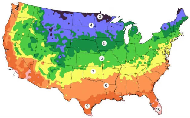 United States color map of hardiness zones for planting