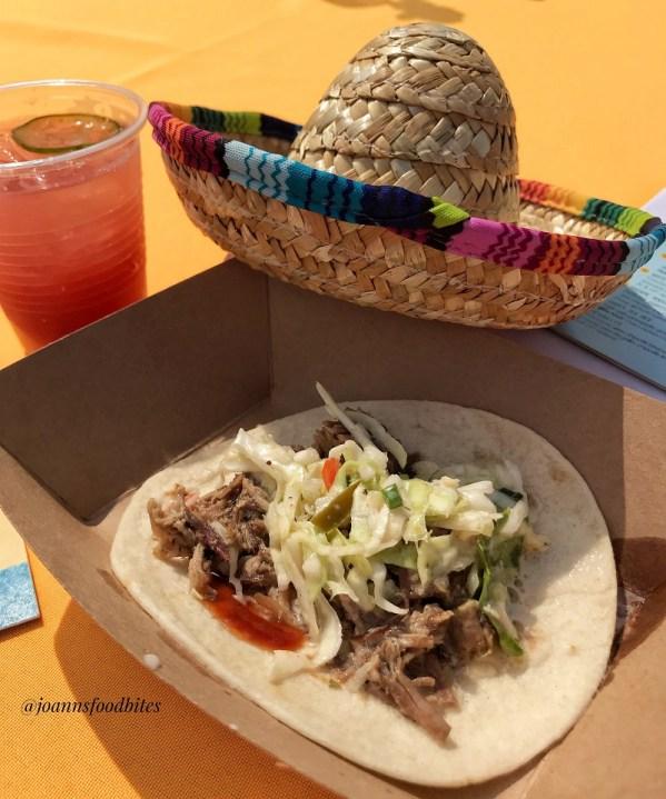 Brisket taco by Taco La Barra with a mini sombrero