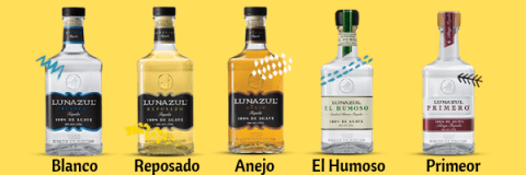 Bottles of Lunazul Tequilas