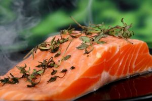 Cooked salmon fillet