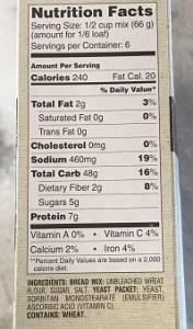 generic food label