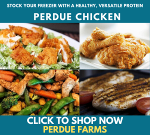 perdue farms promo blue background