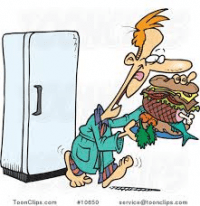clip art getting food from fridge at nigh