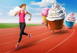 woman running from cupcakes