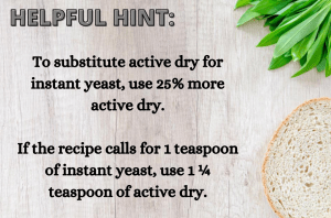 Helpful hint using yeast substitutions