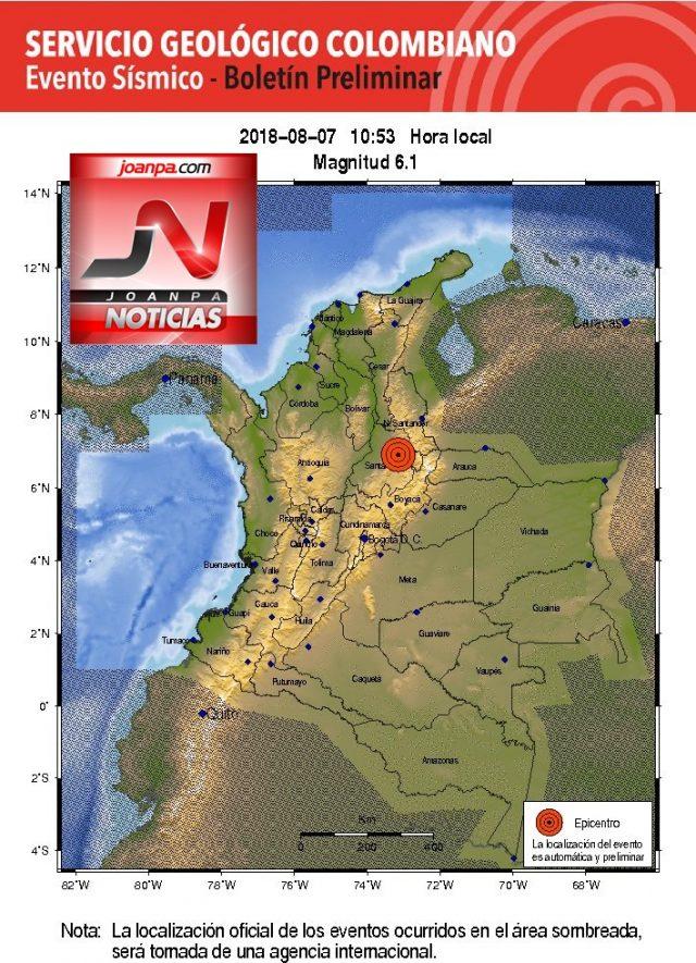 Reportamos Evento Sísmico Magnitud 6.1