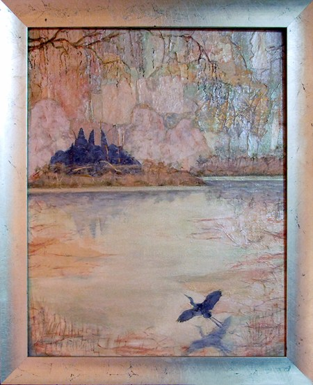 Image of a mixed media painting depicting an island