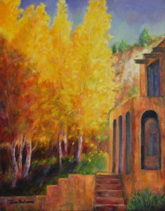 Image of a 14 x 24 oil painting on canvas of an adobe house with golden aspens with rimrock in the background and a blue sky. Original painting is for sale as of 1.1.14