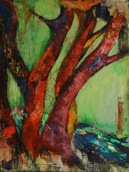 Image of a mixed media painting of red trees by a riverbank, by Joan Pechanec. predominant red and green colors