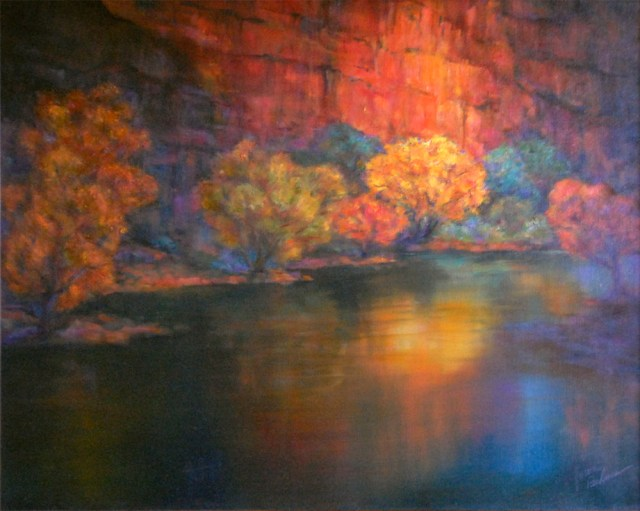 Canyon, oil painting by Joan Pechanec