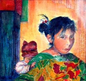 Guatemalan Girl with Baby, mixed media painting by Joan Pechanec