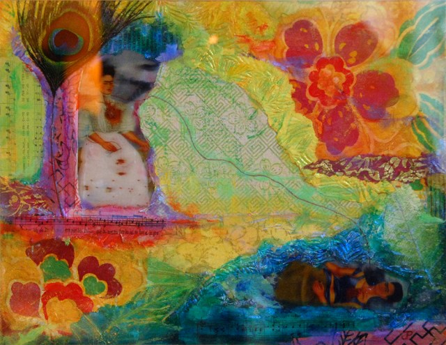 Frida Kahlo Is Dead, mixed media painting by Joan Pechanec