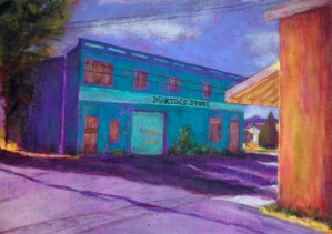 Martin's Store, mixed media painting by Joan Pechanec