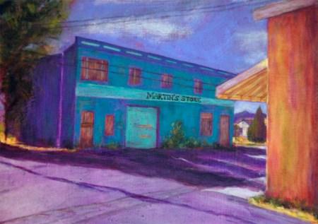 Martin's Store, mixed media painting by Joan Pechanec