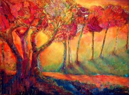 Red Trees, mixed media painting by Joan Pechanec