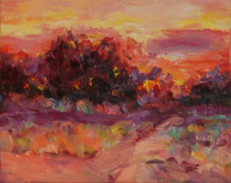 Sunset, oil painting by Joan Pechanec