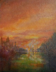 View from Houseboat, oil painting by Joan Pechanec