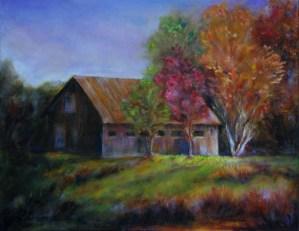 Alabama Barn, original oil painting by Joan Pechanec