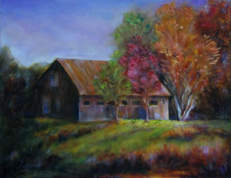 Alabama Barn, original oil painting by Joan Pechanec