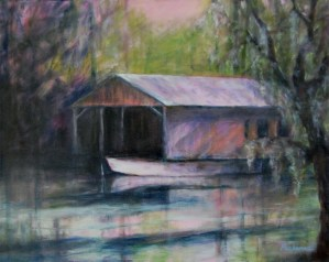 Boathouse at Big Daddy's, Original oil painting by Joan Pechanec
