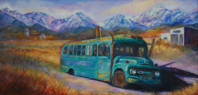 Montana Bus, Original oil painting by Joan Pechanec