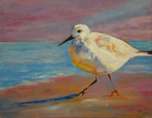 Shorebird, Original oil painting by Joan Pechanec