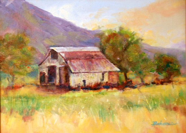 White Barn, Image of original oil painting of a white barn in a countryside landscape, 9x12 unframed, 12x15 framed, by Joan Pechanec, Mt Shasta, CA, 2014.