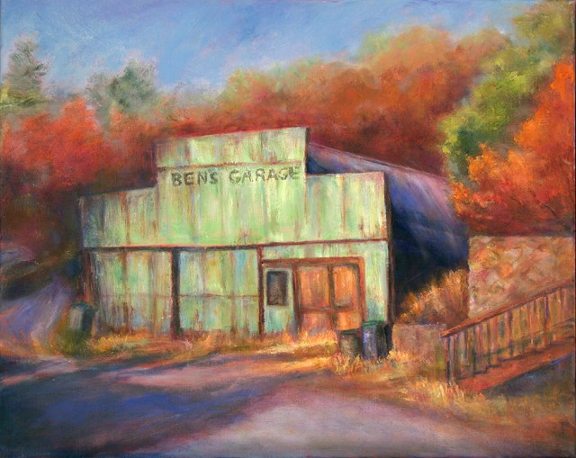 Image of an oil painting of an old building titled Ben's Garage by artist Joan Pechanec