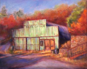 Image of an oil painting of an old building titled Ben's Garage by artist Joan Pechanec. Ben's Garage Oil on Canvas 16x 20 unframed 21x25 framed $475