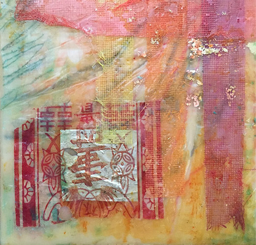 Chinese Abstract, encaustic on wooden panel, 6x6, $75 by Joan Pechanec