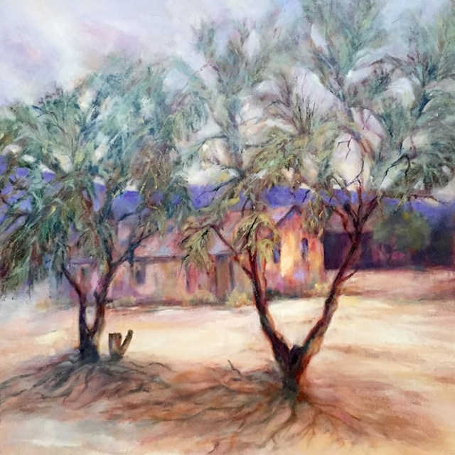 Old Desert House, painting by Joan Pechanec. Oil painting of an old desert house by artist Joan Pechanec Old Desert House Oil on Canvas 20x20 unframed 25x25 framed $450 We stopped at an abandoned town off Route 66 on our way from Alabama to California. This cluster of old houses in the sand caught my eye. I love the feathery desert trees that survive in this drought-stricken landscape.