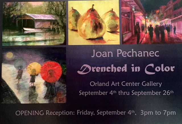 Orland Art Center Solo Show Announcement, September 4–26, 2015. Reception Sept 4 from 3-7pm. Orland Art Center is located at 732 4th St. Orland, CA 95963
